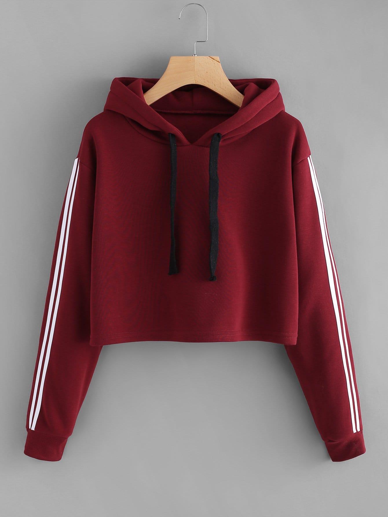 Plus Stripe Contrast Sleeve Crop Hoodie