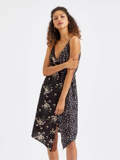 Floral Print Double Strap Surplice Wrap Dress