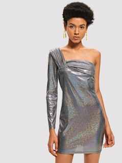 One Shoulder Glitter Bodycon Dress