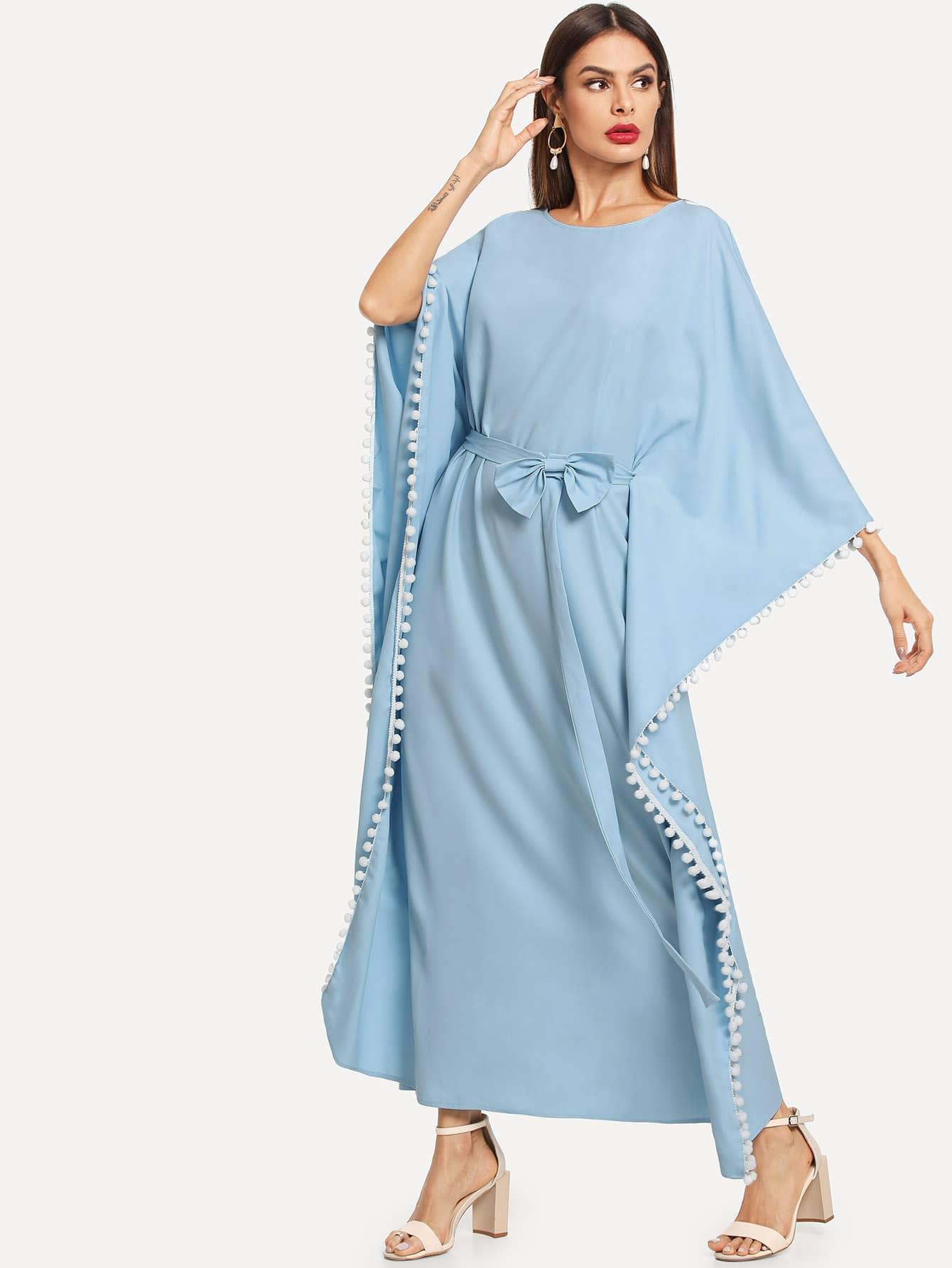 Купить Помпон украшен платье с поясом, Andy, SheIn