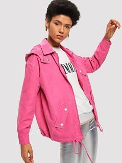 Zip Front Pocket Collar Neck Solid Jacket