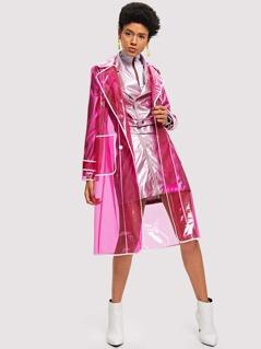 Contrast Trim Transparent Raincoat