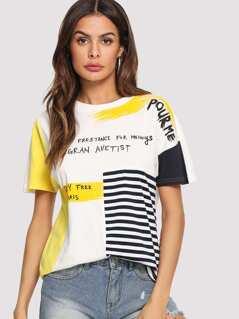 Mixed Print Cut and Sew T-shirt