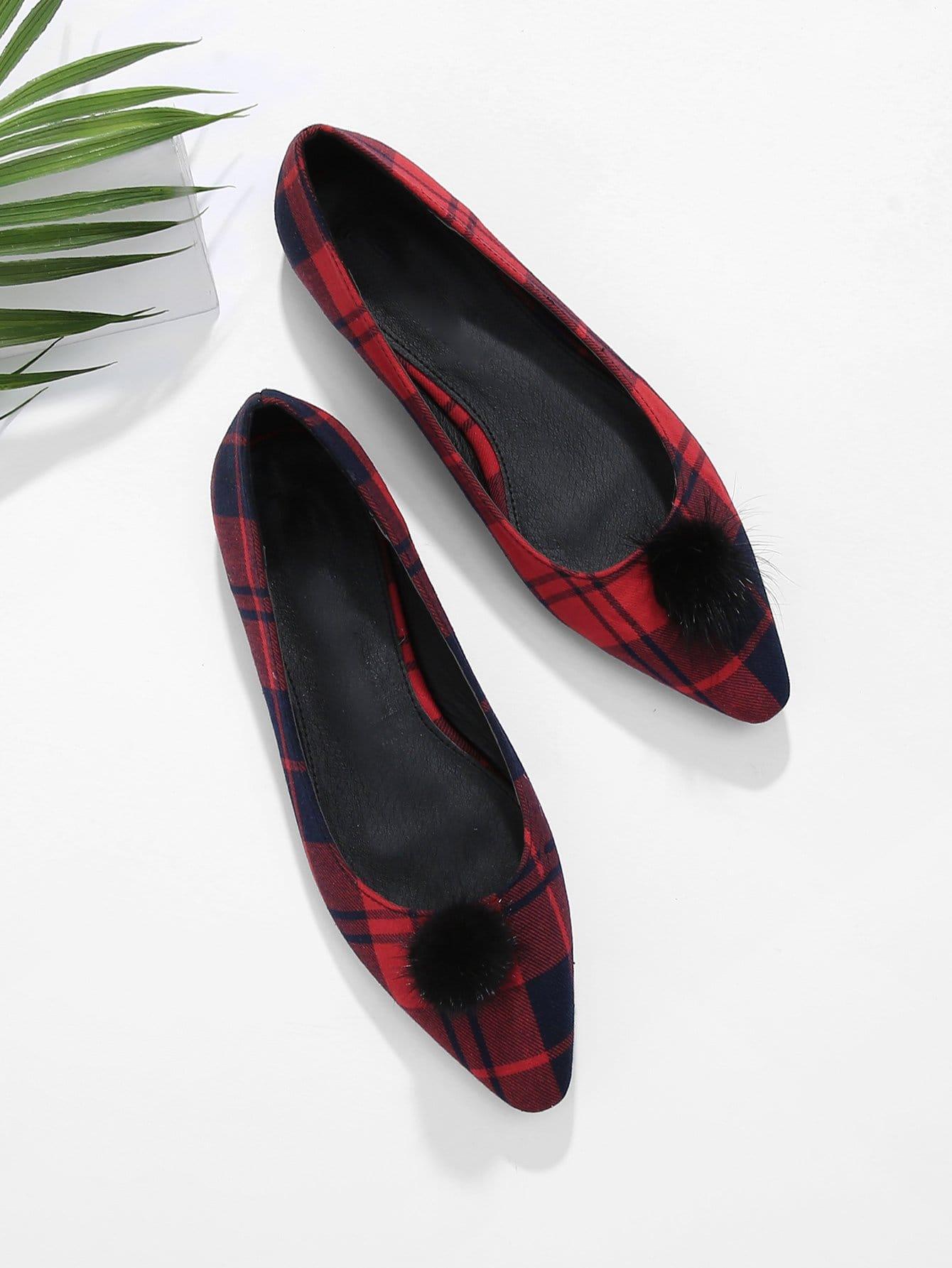 Купить Туфли на плоской подошве для балета и в клетку и с украшением Pom Pom, null, SheIn