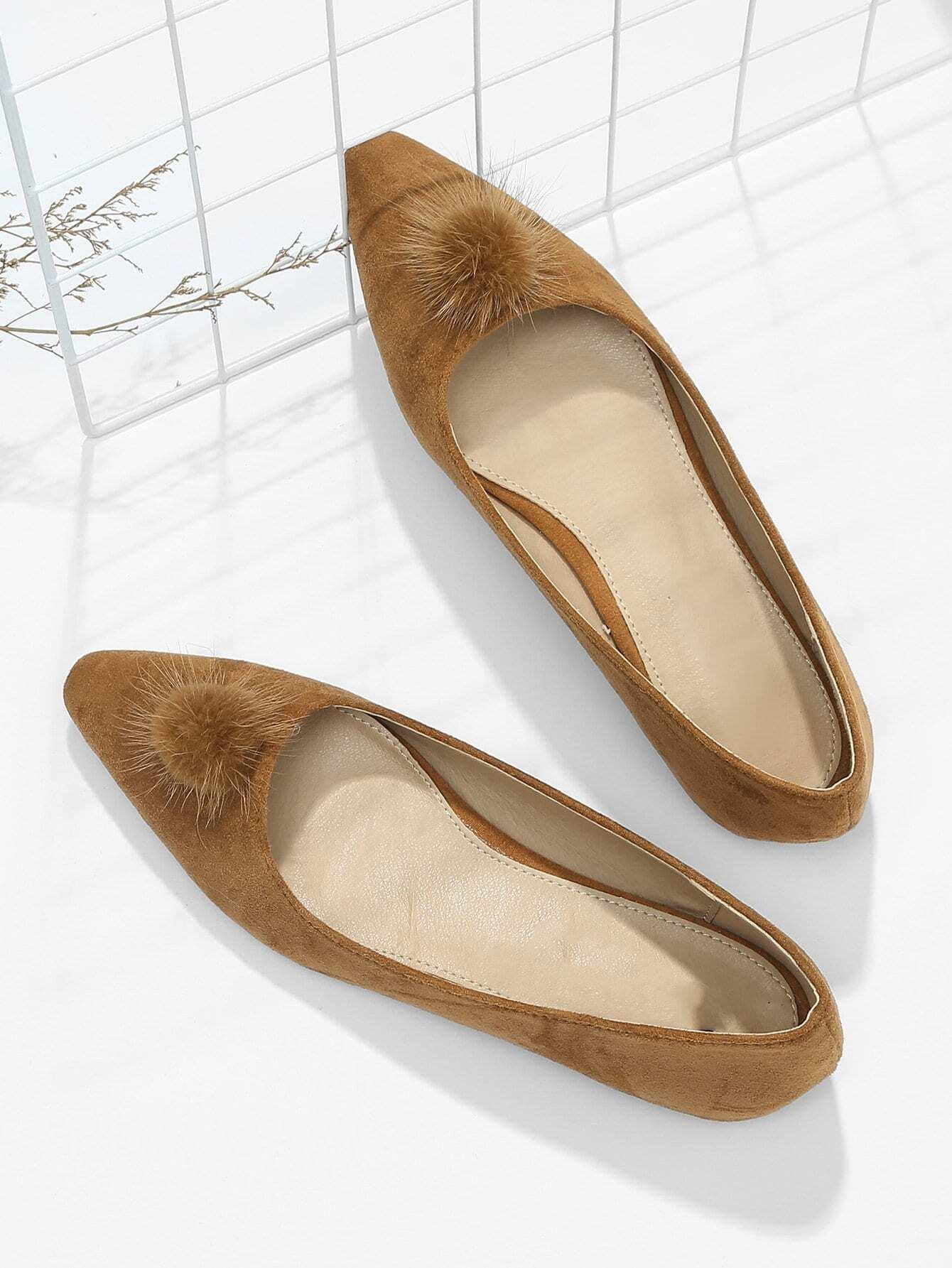 Купить Туфли на плоской подошве для балета и с украшением Pom Pom, null, SheIn