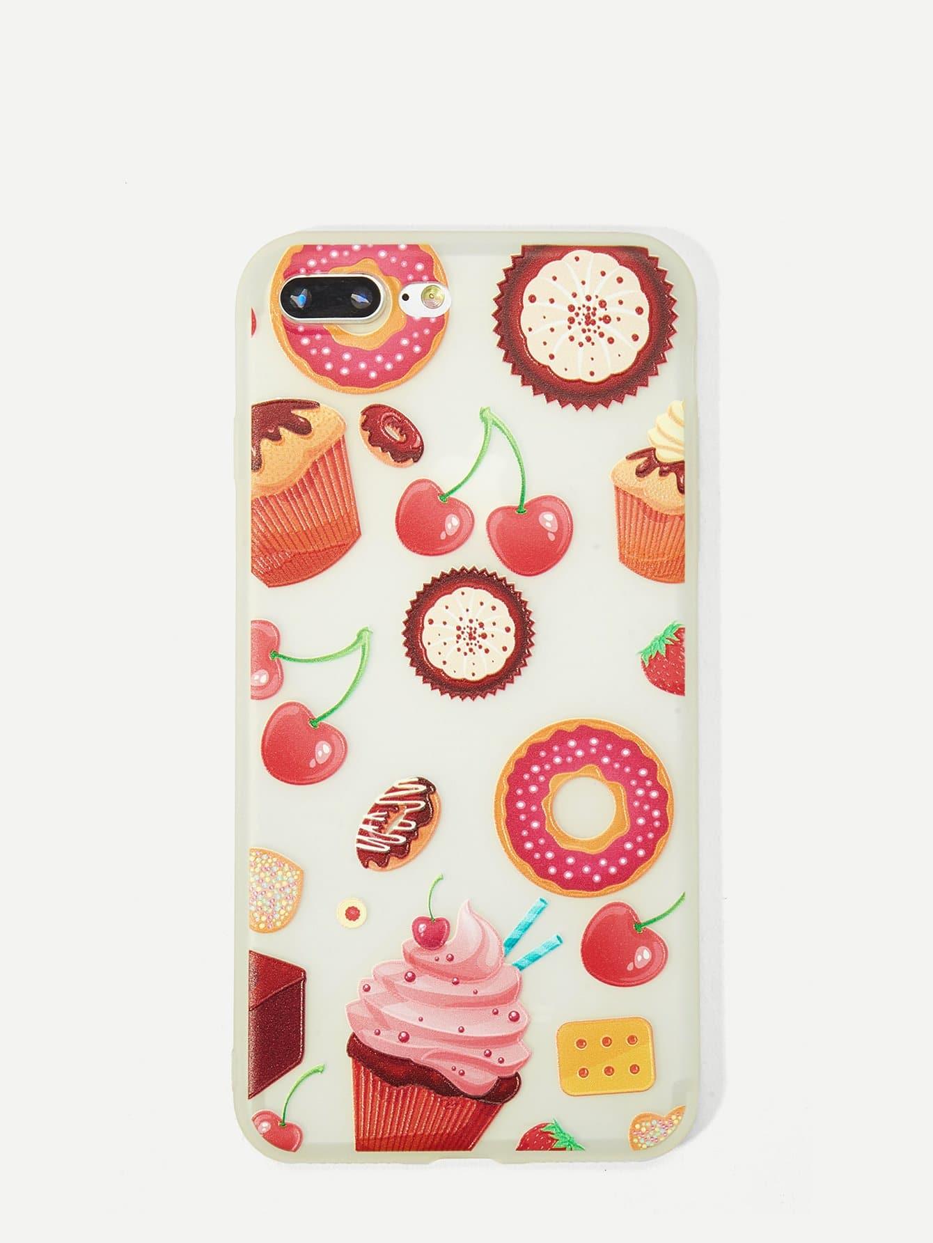 Купить Корпус сотового телефона с рисунками торта и вишен для iPhone, null, SheIn