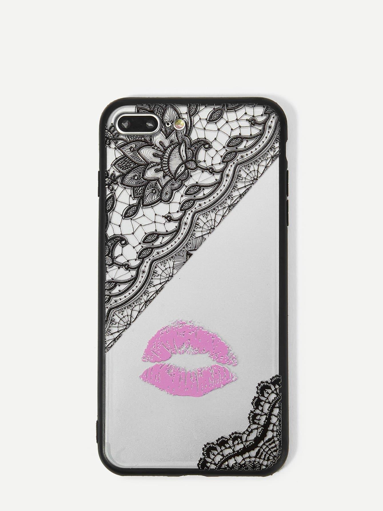 Купить Корпус сотового телефона с рисунком губы для iPhone, null, SheIn