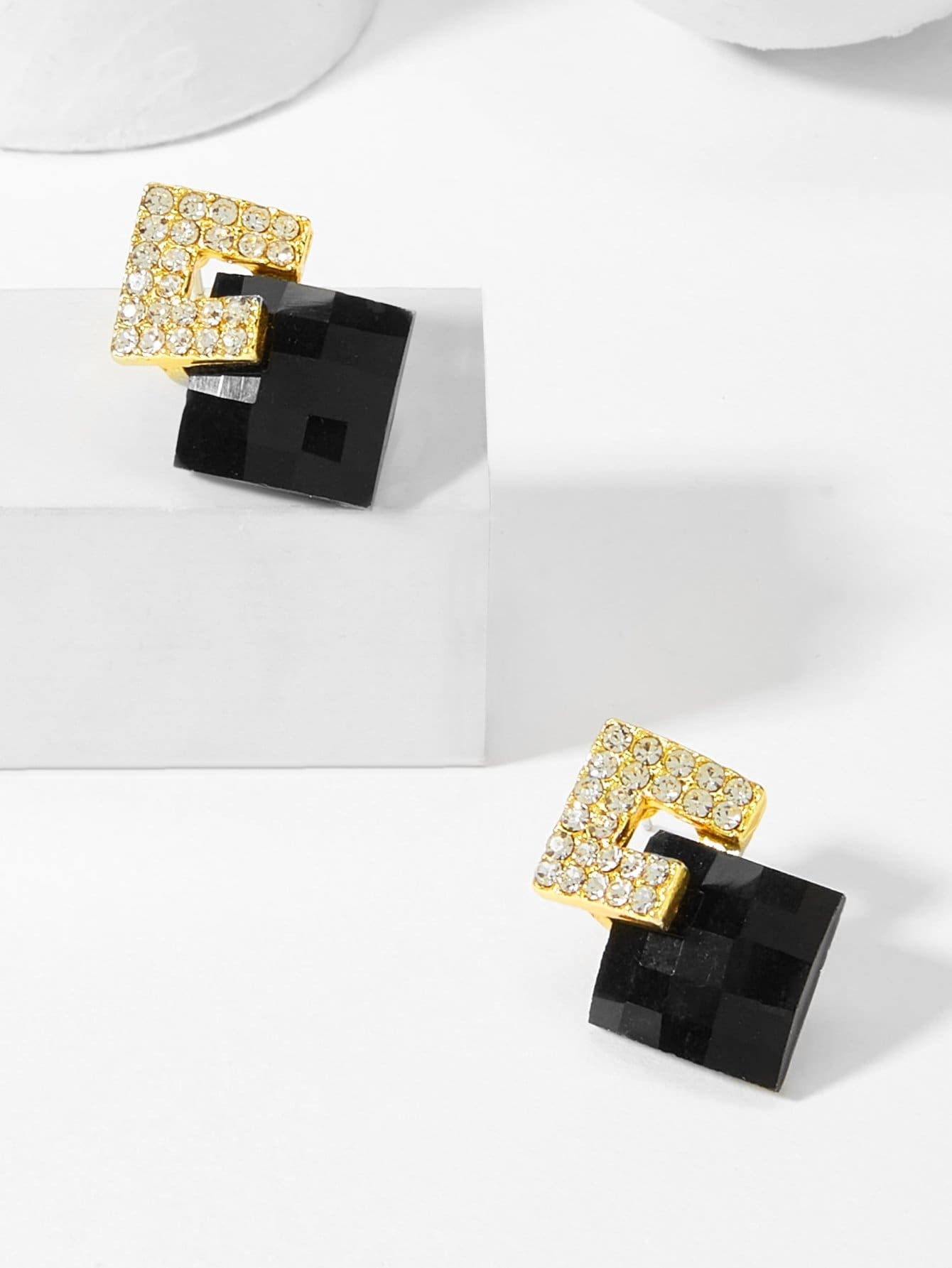 Square Gold Plated Stud Earrings