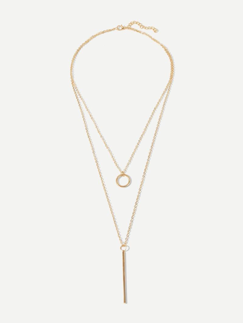 Bar & Circle Pendant Layered Necklace, Gold