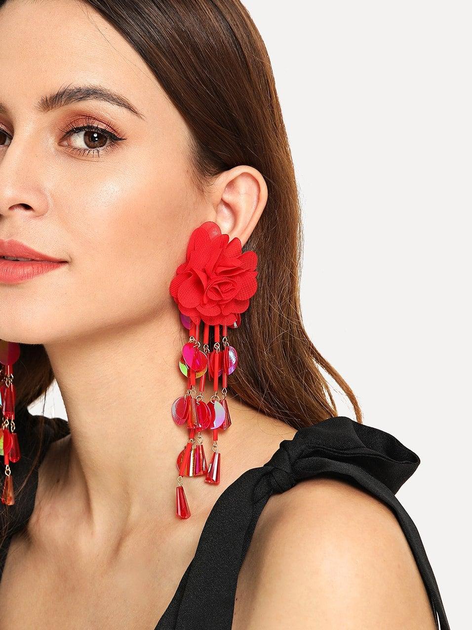 Sequin Fringe Flower Earrings 1pair null