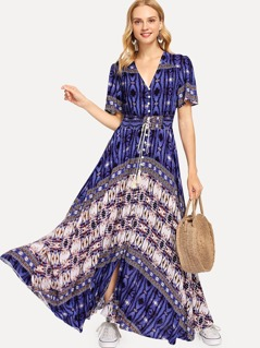Button Front Drawstring Tassel Dress