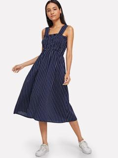Square Neck Striped Shell Dress