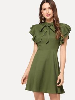 Layered Ruffle Fit & Flare Dress