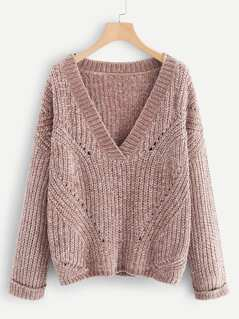 V Neck Rolled Cuff Chenille Jumper