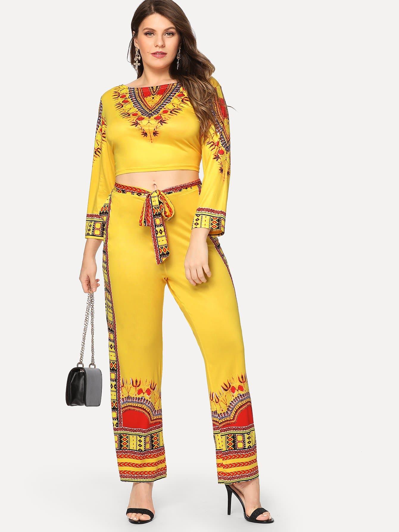 Купить Плюс V-образным вырезом Печать Tribal Top & Pants Co - Ord, Isabela, SheIn