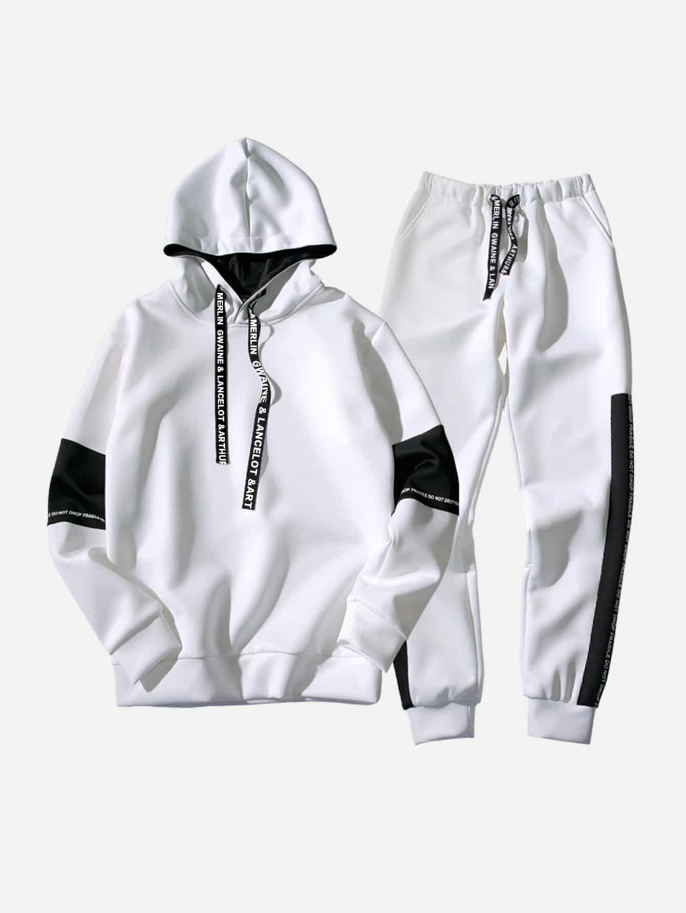 Men Contrast Panel Letter Print Hooded Sweatshirt With Drawstring Pants