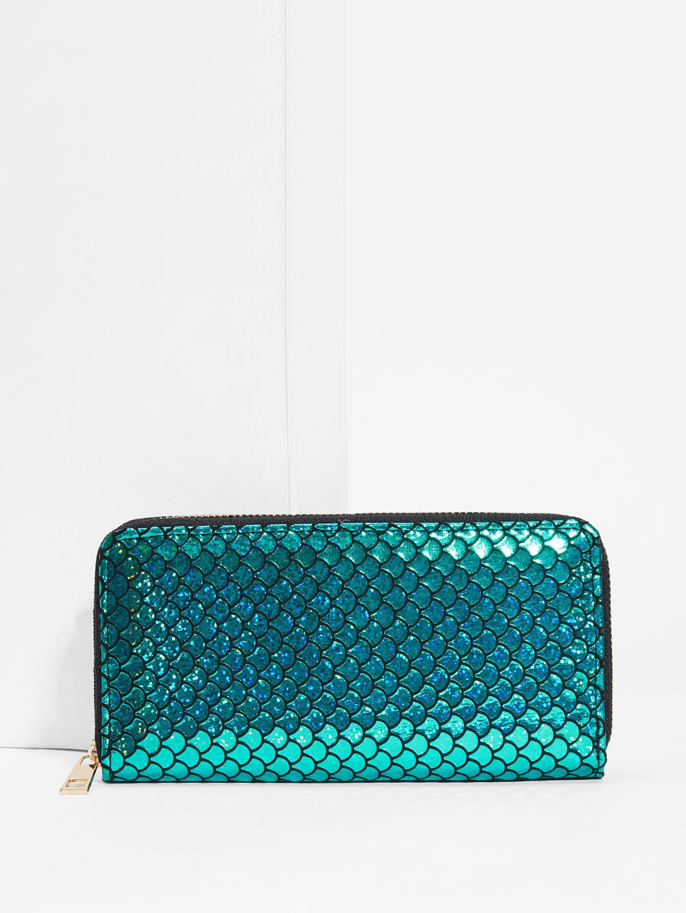 Fish Scale Print Glitter Purse