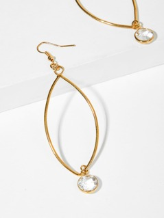 Petal Shaped Dangle Earring with Round Gemstone Detail GOLD