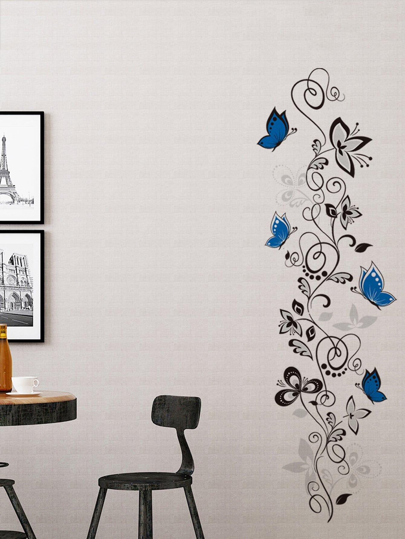 Купить Бабочка & цветочный стикер стены, null, SheIn
