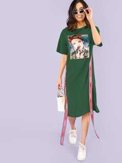 Figure Print Contrast Tape Side Slit Dress