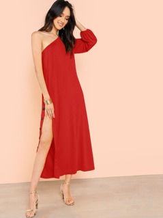 One Shoulder Buttoned Split Side Dress