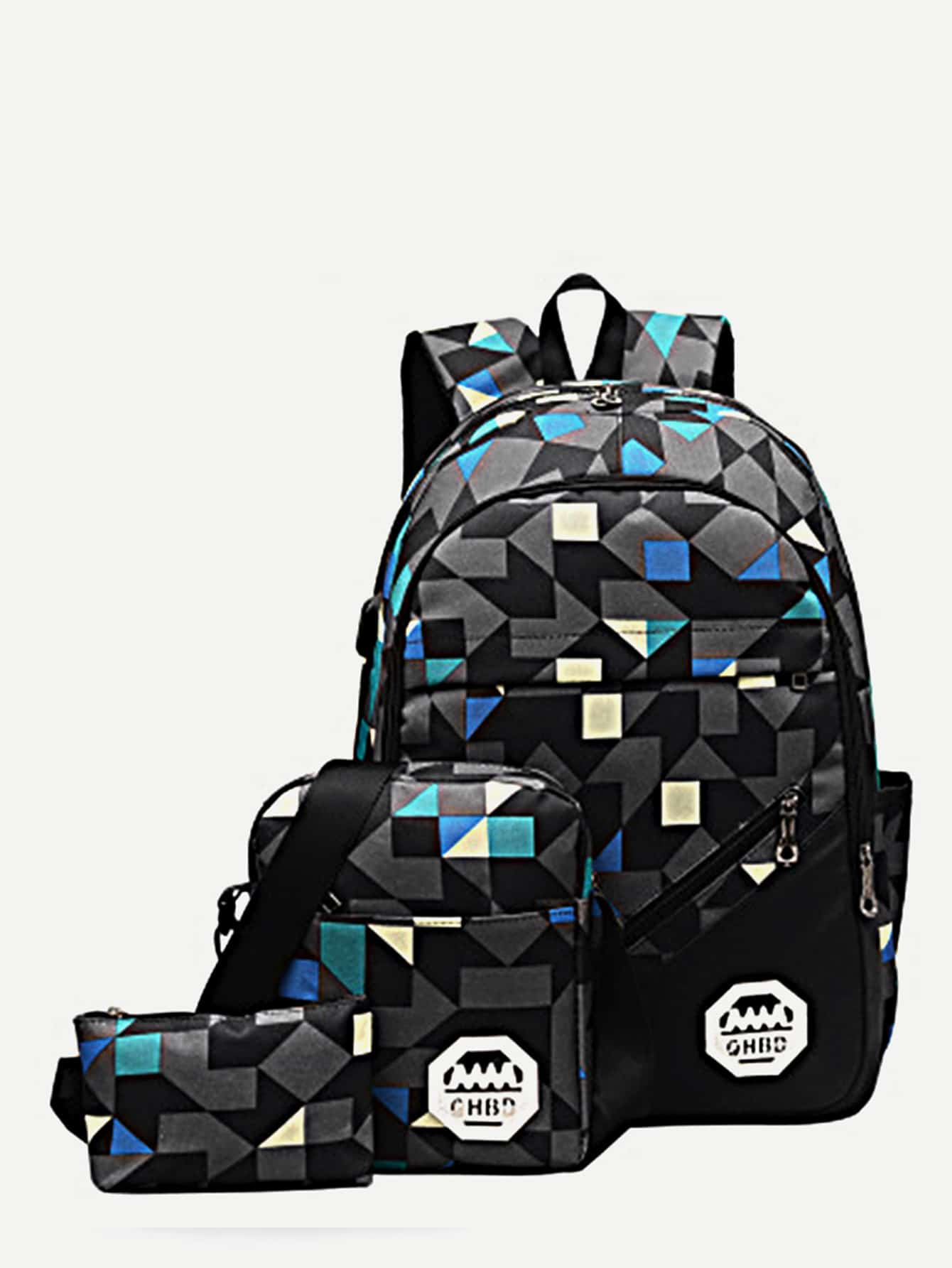 Geometric Pattern Backpack With Crossbody Bag 3pcs