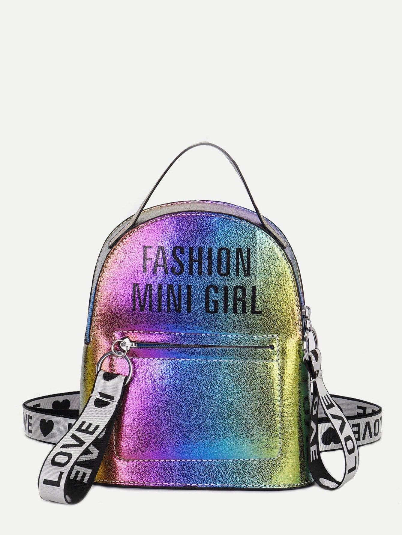 Купить Радужный рюкзак через плечо и упаковочная лента с рисунками лозунгов, null, SheIn