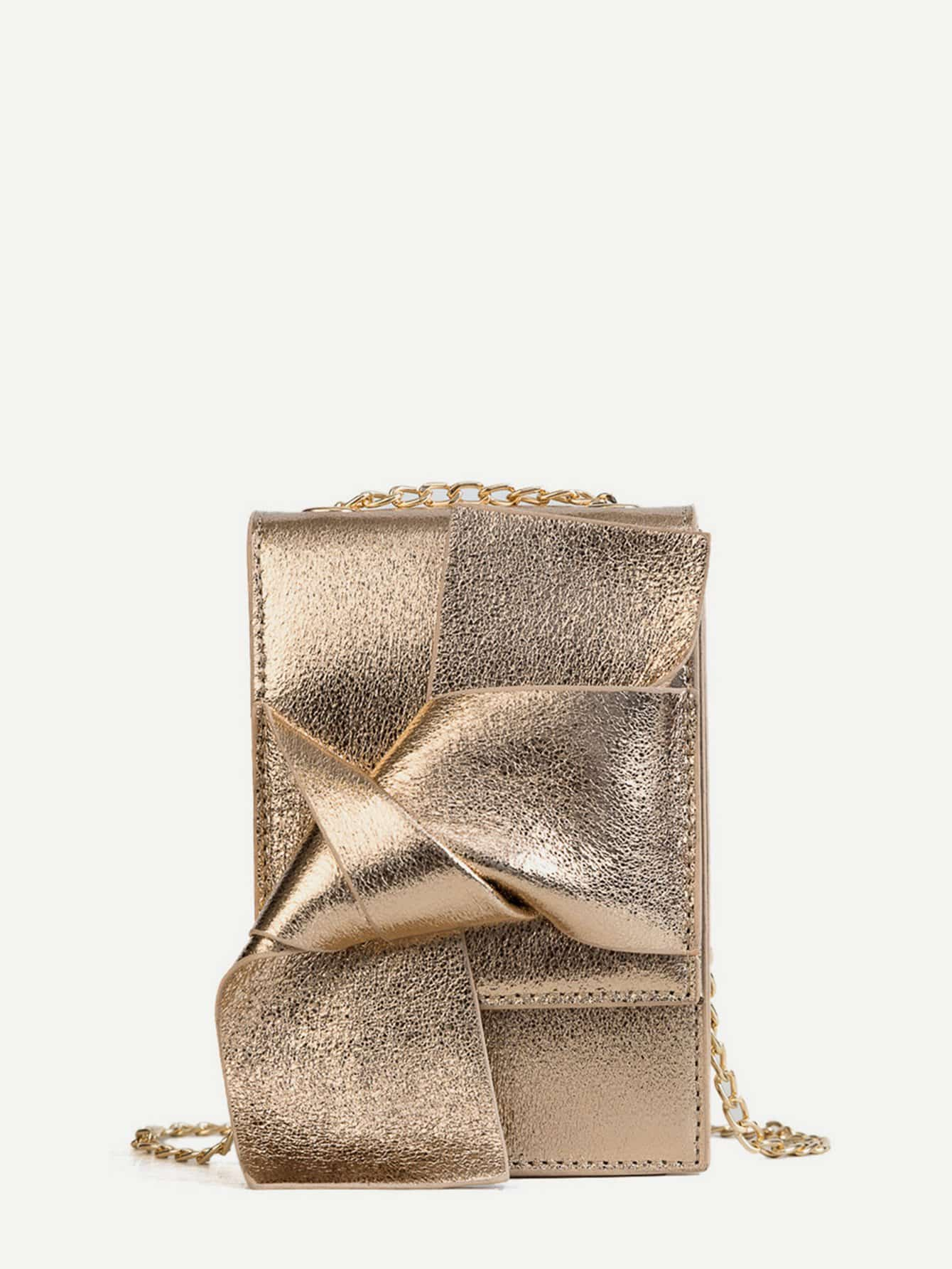 Knotted Design Chain Crossbody Bag