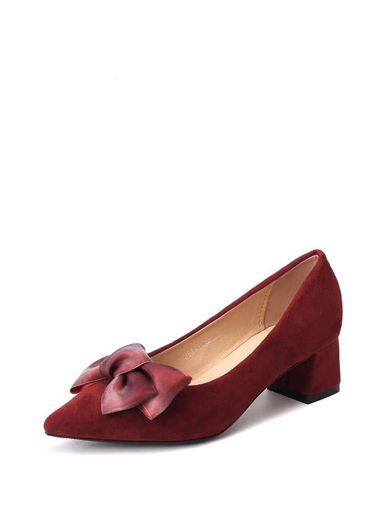 Ombre Bow Decor Block Heels