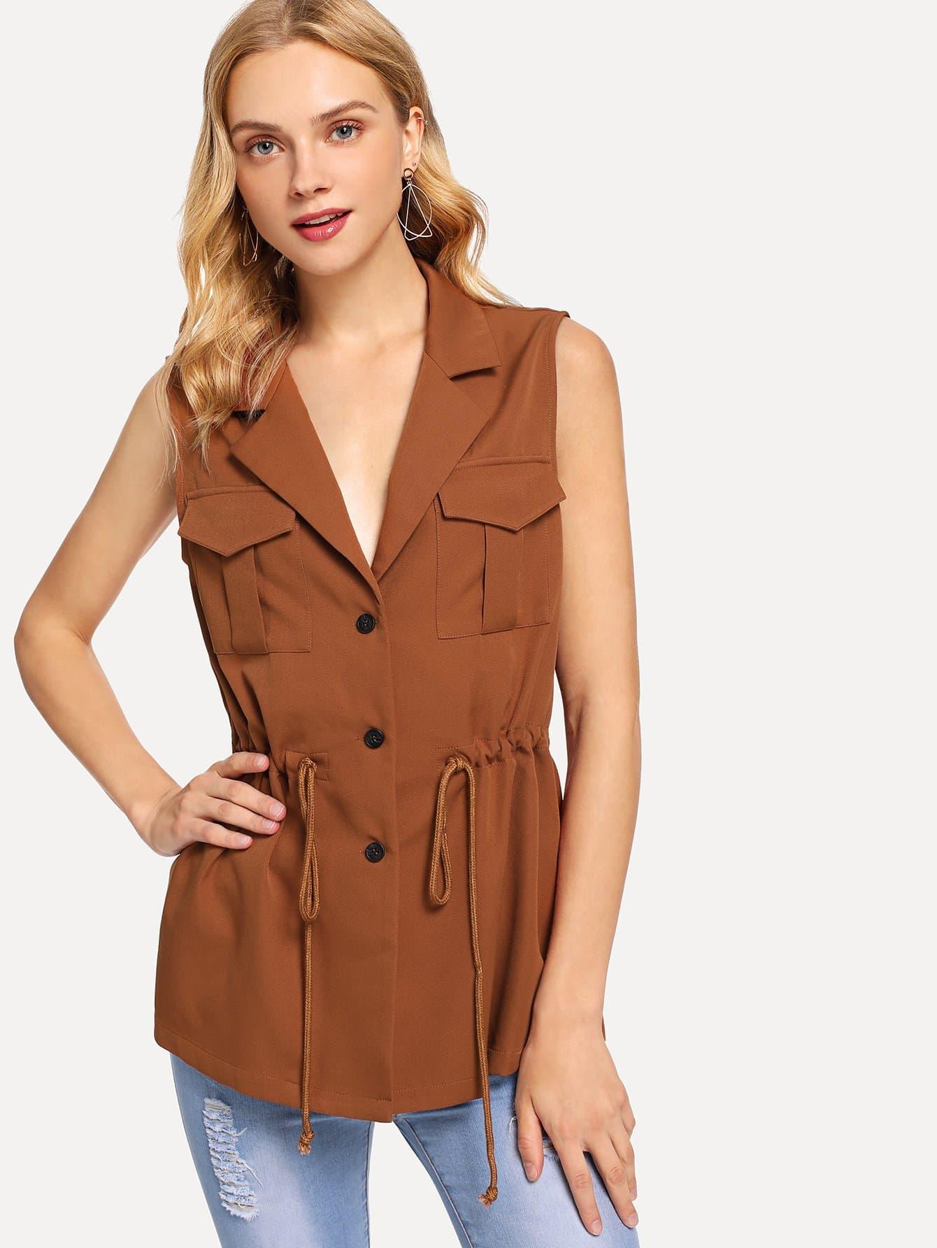 Купить Пальто с воротником Notched и с украшением пуговицы и кармана, Nedab, SheIn
