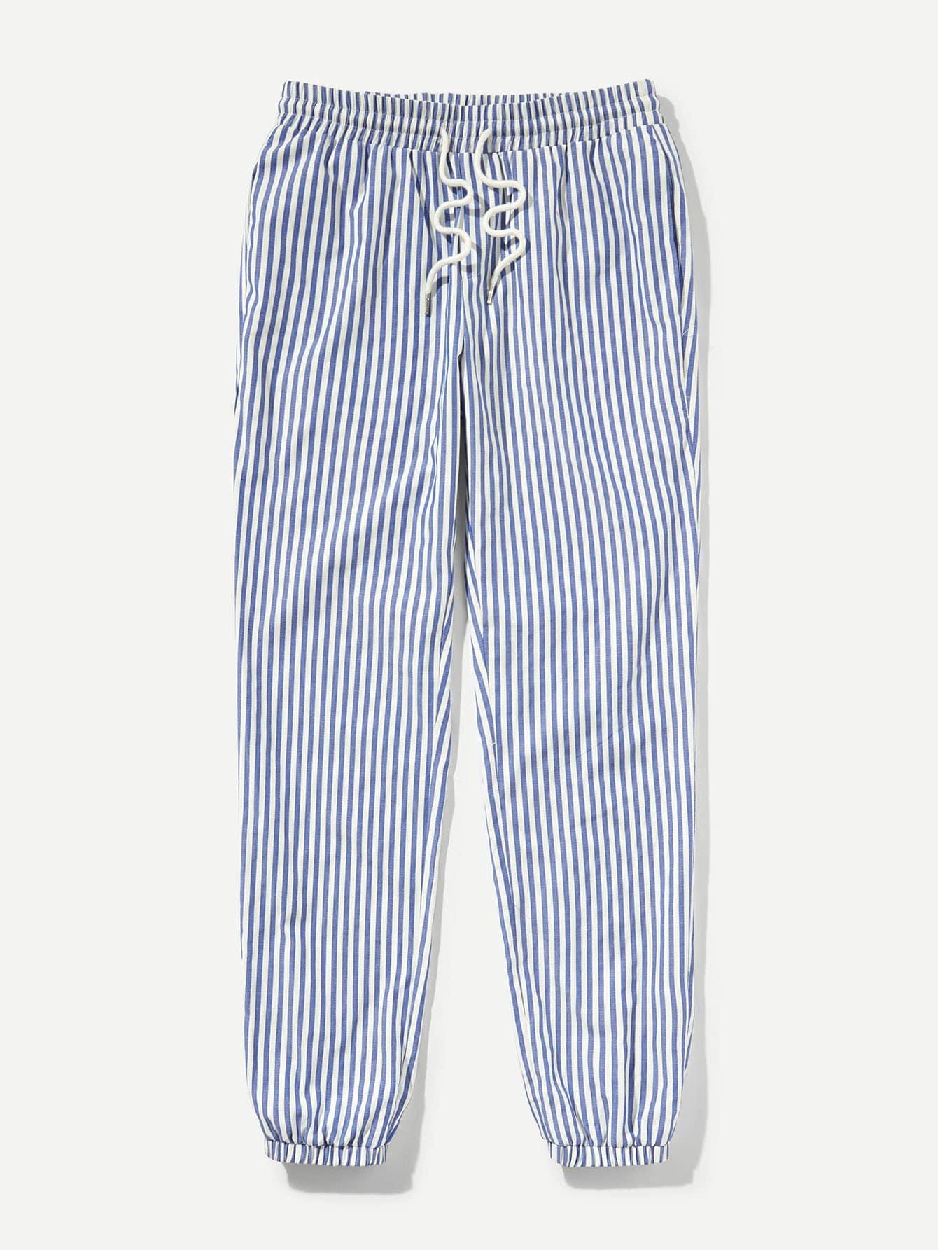 Купить Полосатые брюки с басоном эластичным для мужчины, null, SheIn
