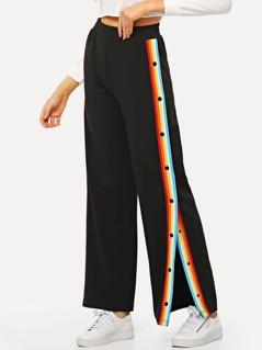 Button Detail Split Striped Pants