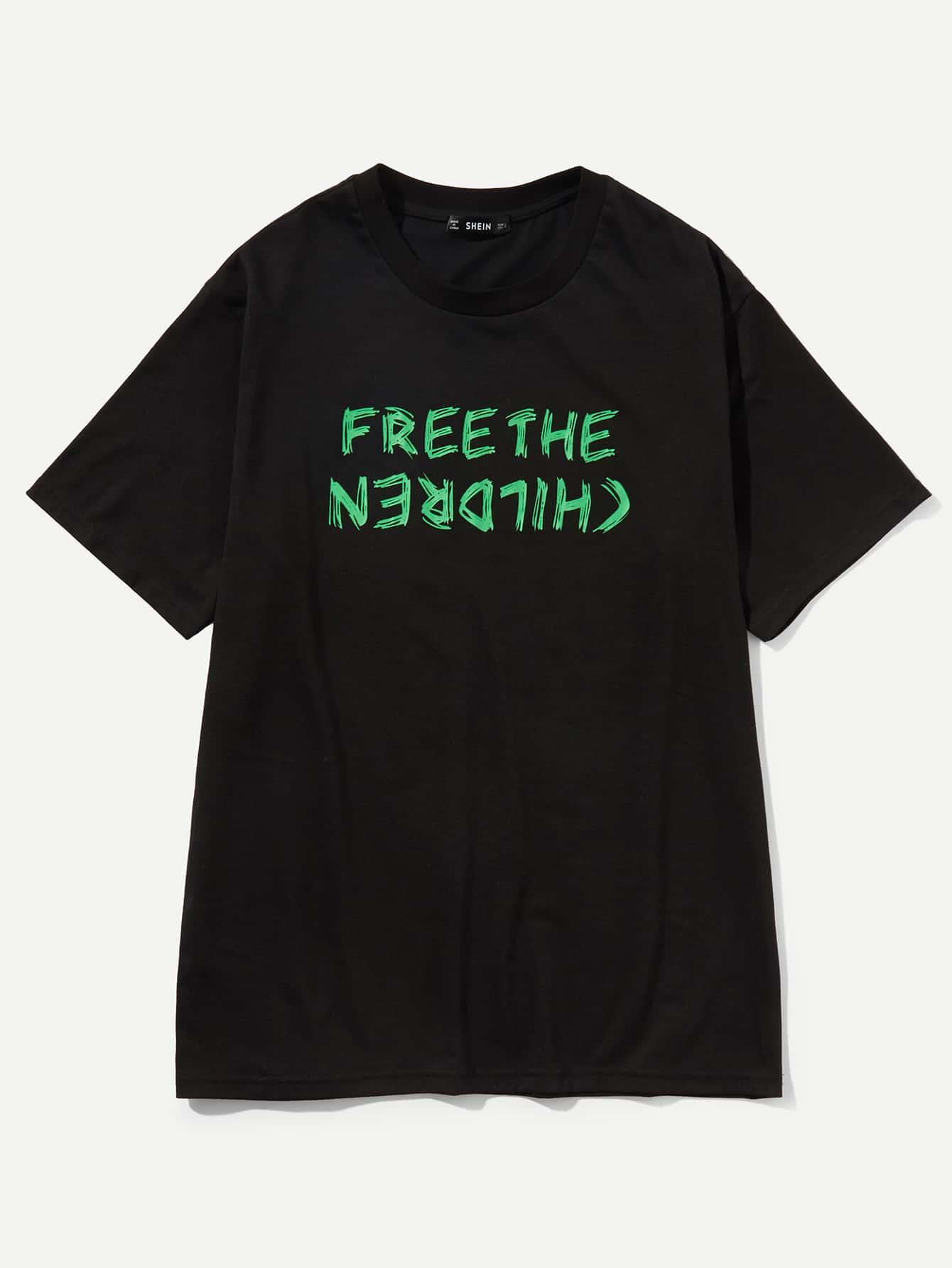 Купить Длинная футболка с рисунками буквы для мужчины, null, SheIn