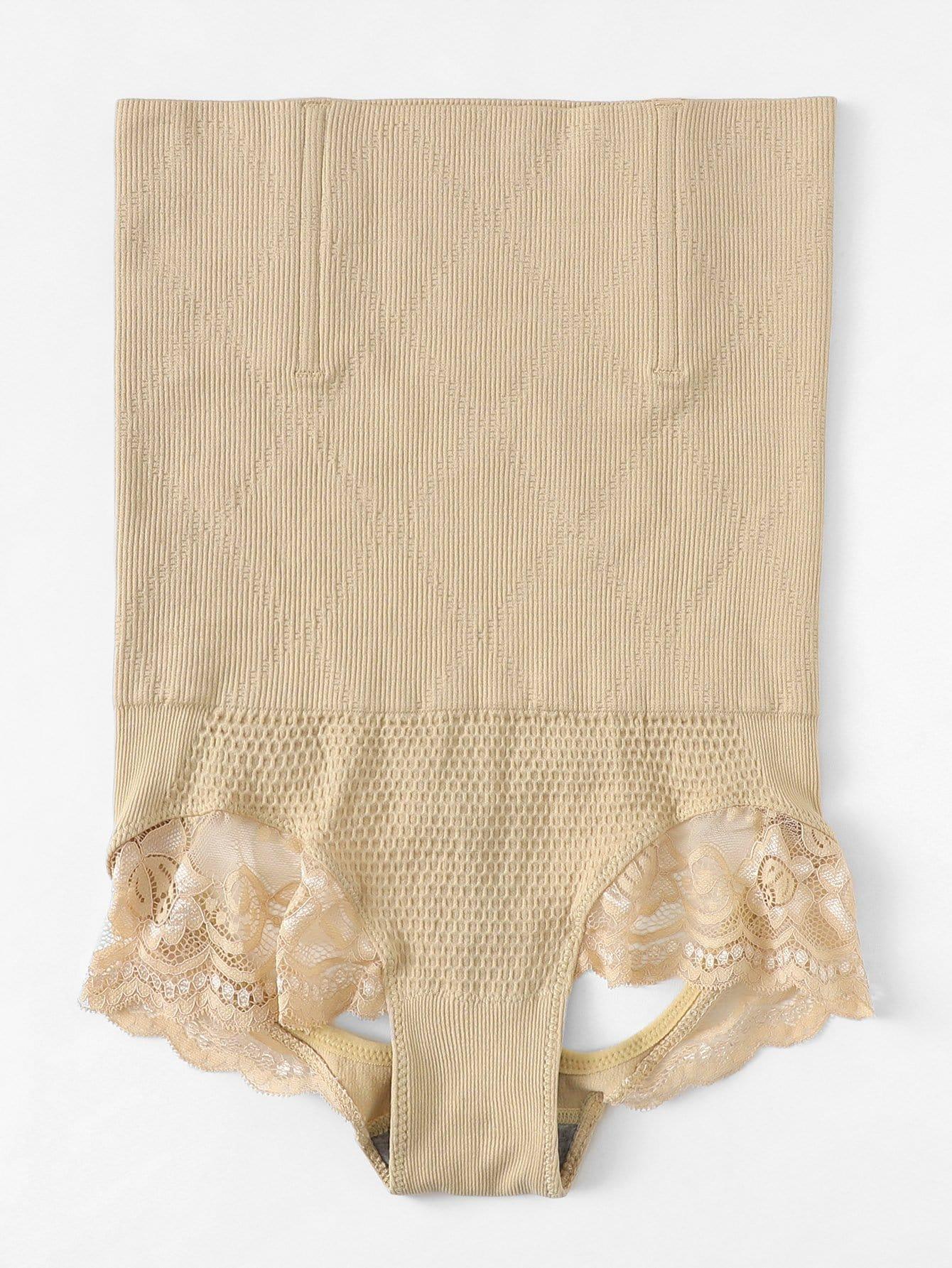Plus Cut-Out Contrast Lace Shapewear Panty