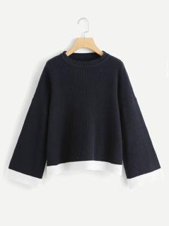 Bell Sleeve Contrast Hem Sweater