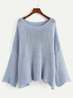 Drop Shoulder Bell Sleeve Eyelet Sweater