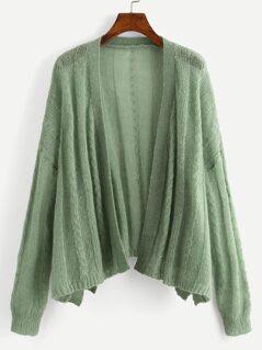 Drop Shoulder Open Placket Sweater Coat