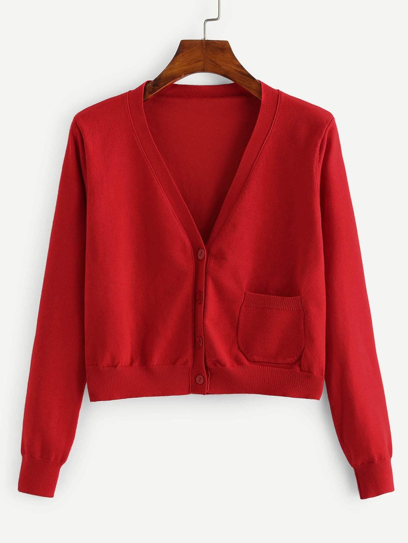 Купить Однобортный свитер пальто с карманом, null, SheIn
