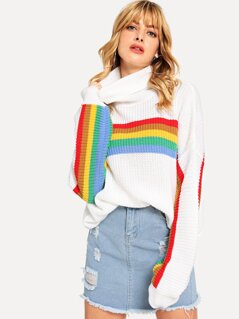 Rolled Neck Color Block Sweater