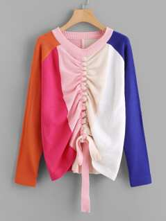 Raglan Sleeve Color Block Drawstring Jumper
