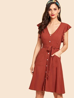 Belted Button Up Ruffle Cuff Dress