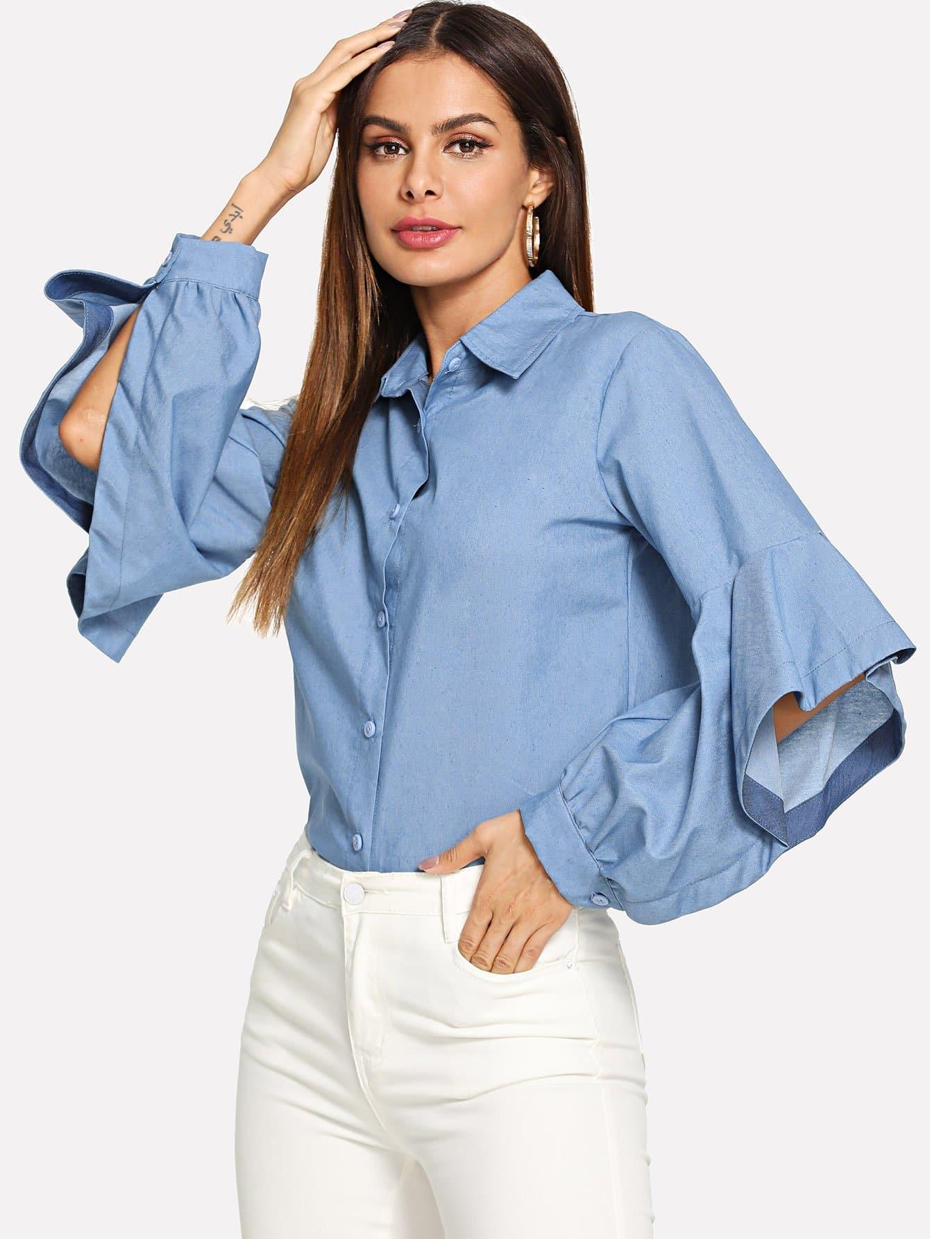 Купить Простая джинсовая блузка с волнистыми оторочками и с украшением пуговицы, Andy, SheIn
