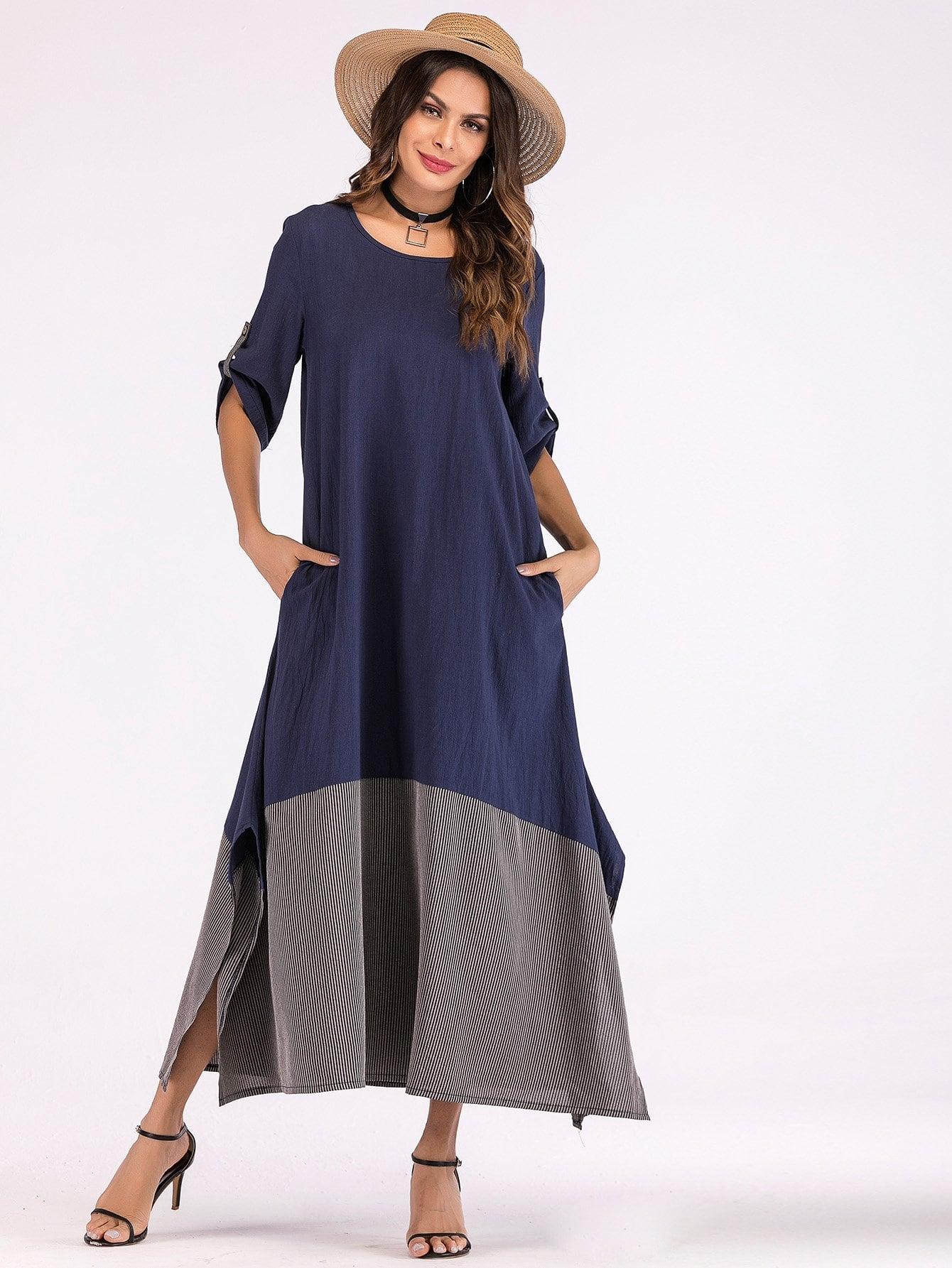 Купить Длинное платье со симметрическими полосами и с вырезом по обе стороны, null, SheIn