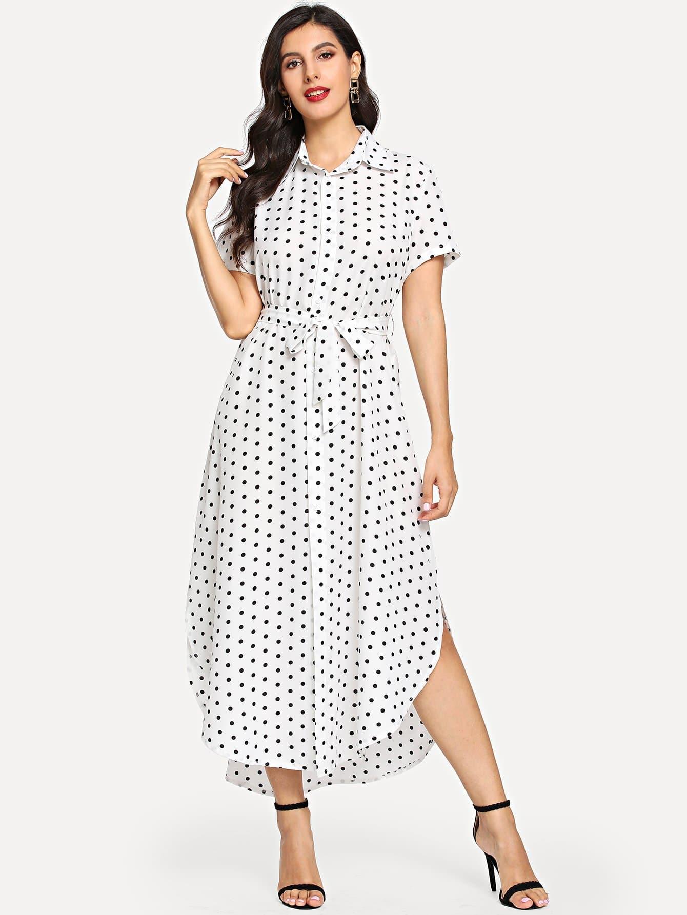 Купить Платье с поясом и с рисунками точки польки, Jeane, SheIn