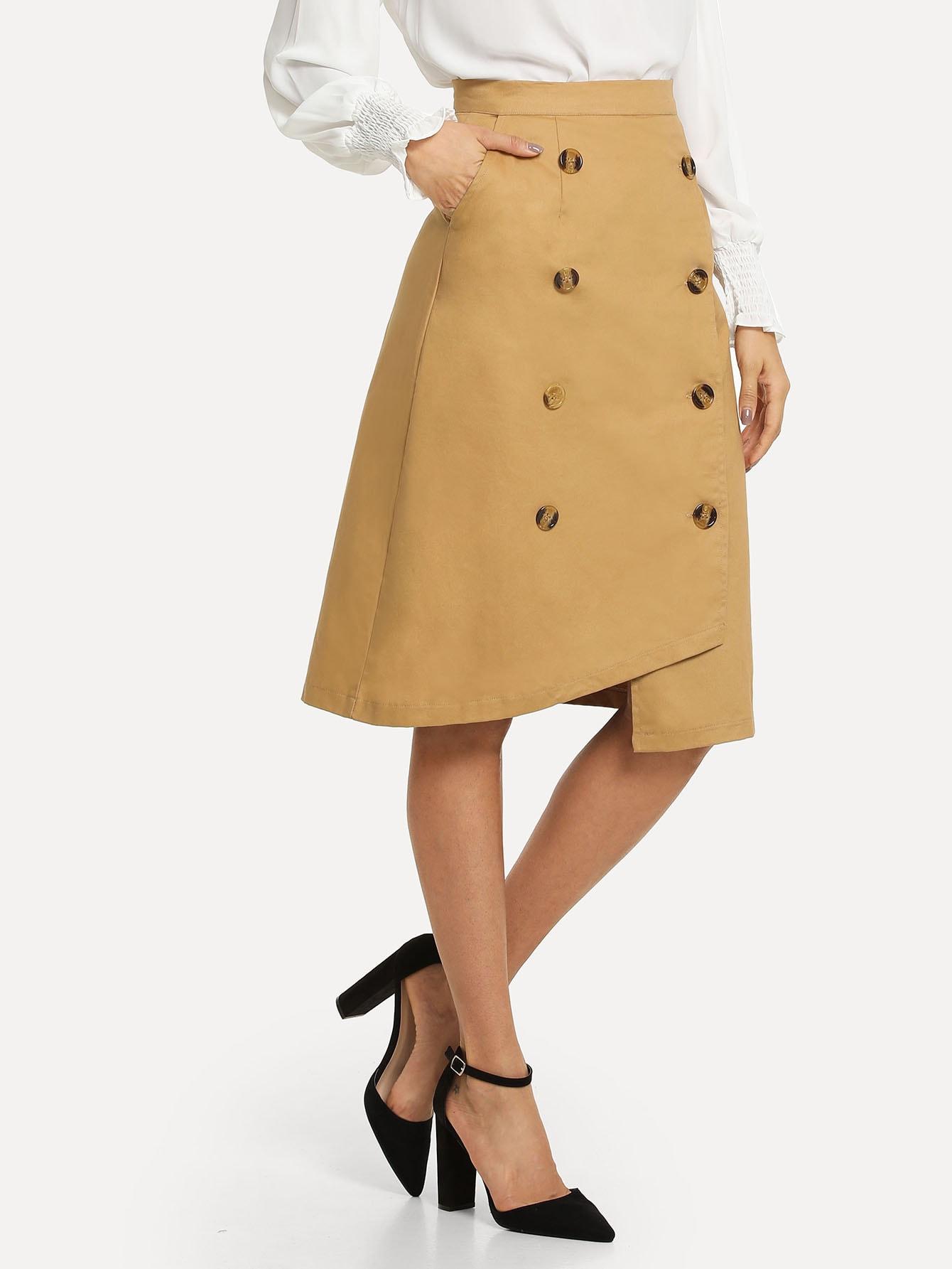 Купить Простая асимметричная юбка с украшением пуговицы, Andy, SheIn