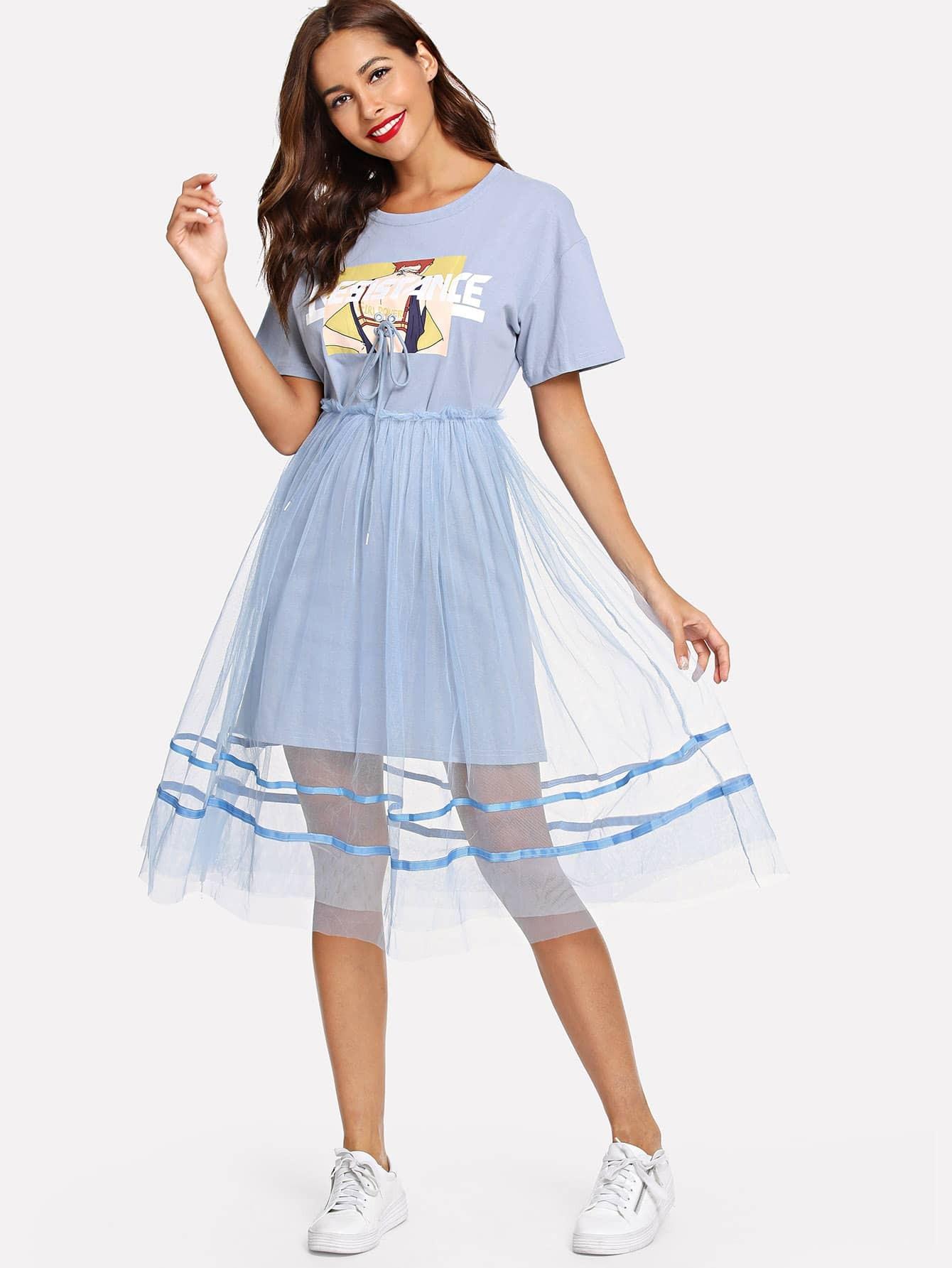 Купить Ситцевая длинная футболка и сетчатая юбка, Giulia, SheIn