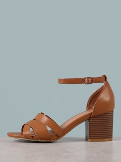 Heeled Faux Leather Sandals