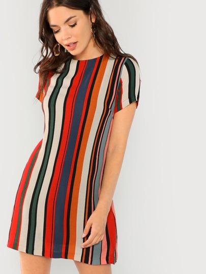 Short Sleeve Striped Shift Dress