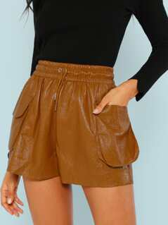 Crinkled Faux Leather Lounge Shorts