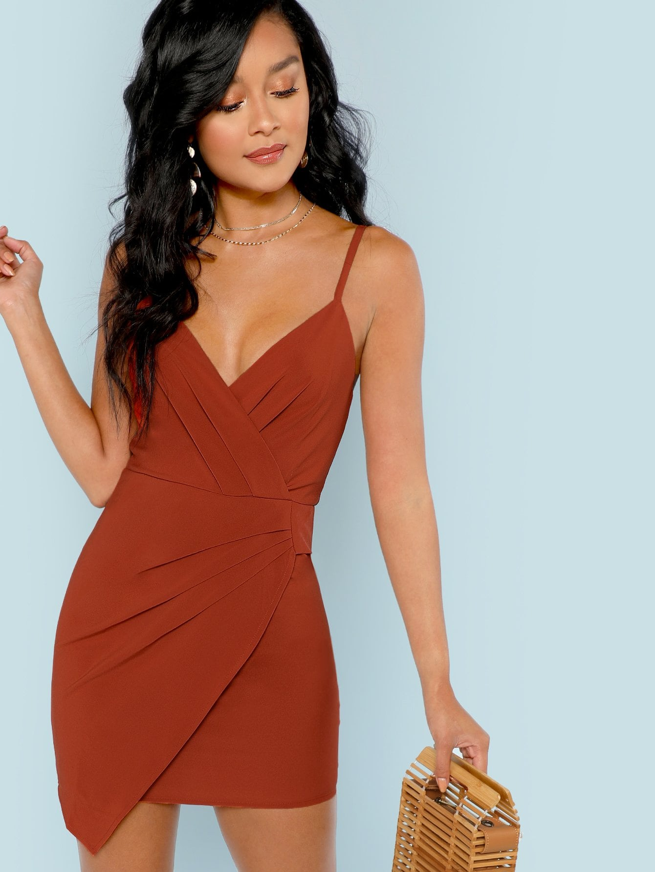 Мини-платье без рукава со складками SheIn
